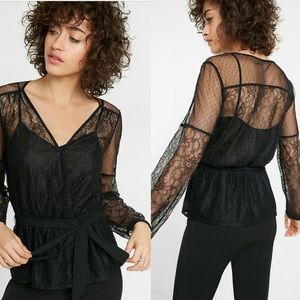 Lace And Mesh Semi-Sheer Surplice Blouse